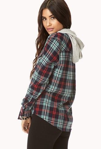 Rustic Hooded Plaid Flannel | FOREVER 21 - 2000110218