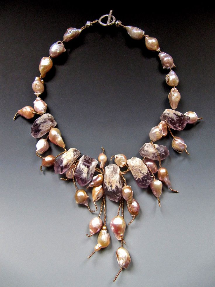 Amethyst crystal, baroque fresh water pearls, antique French brass seed beads LuciaAntonelli.com