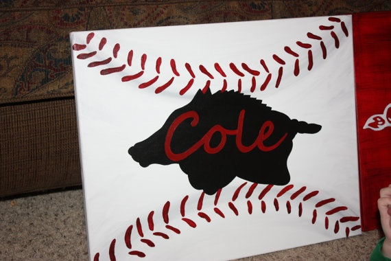 Personalized Razorback Baseball Canvas Painting by trendzbytwinz, $35.00