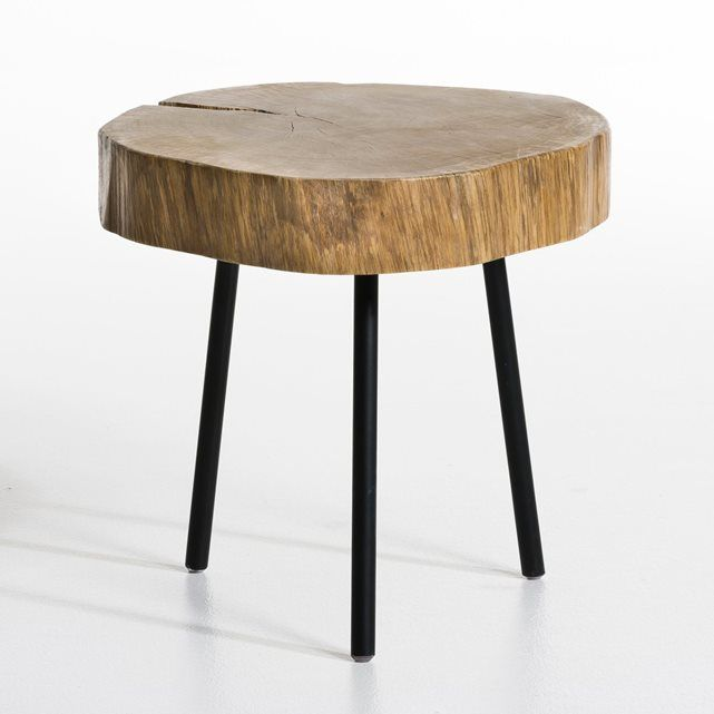NIKLAUS Side Table AM.PM. : price, reviews and rating, delivery. This occasional table marries the raw beauty of a thick tree stump in solid oak with an oiled finish and the contemporary elegance of tapered metal legs with an epoxy finish. Dimensions 45 (plus or minus 5 cm) x H35 cm.