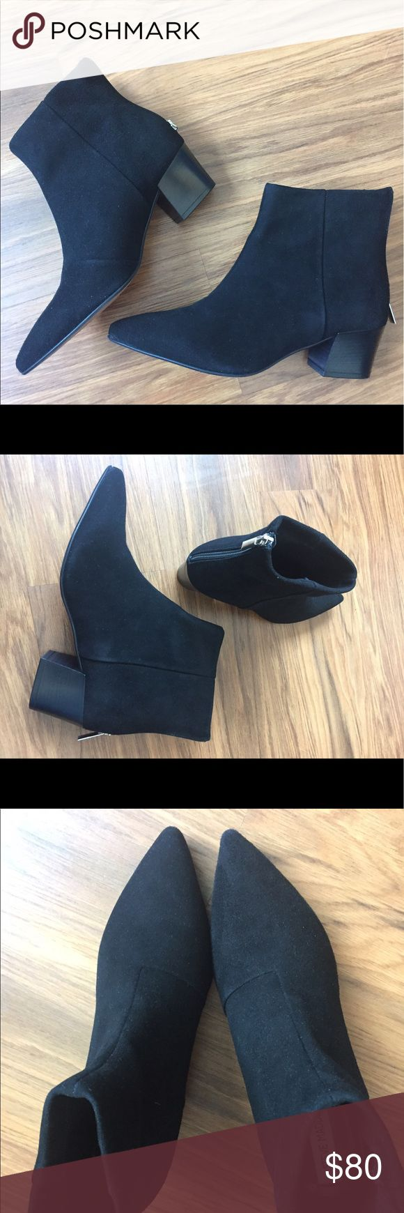 Steve Madden Black Suede Pointed Ankle Boot US 8.5 Steve Madden black suede pointed ankle booties. Never worn outside of the house because slightly too small (I'm a 9). Breaks my heart coz they're so pretty. Steve Madden Shoes Ankle Boots & Booties