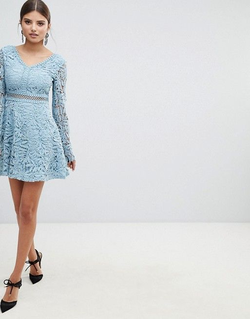37e5a75ecae3 Boohoo exclusive crochet lace long sleeve skater dress in 2019 | 25.  Apparel: dresses | Skater Dress, Crochet Lace, Lace