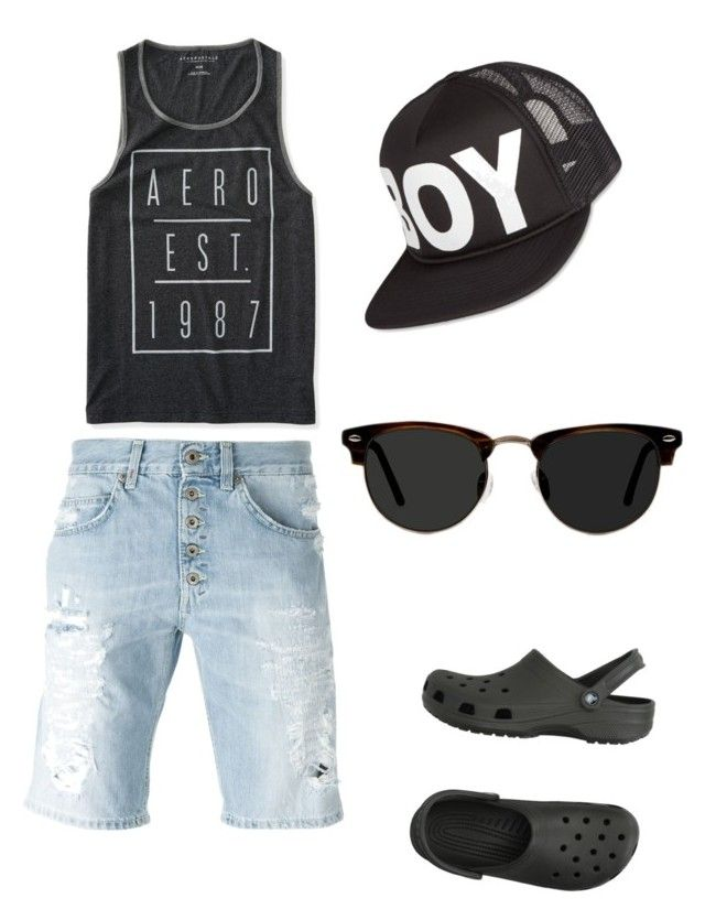 """casual summer look"" by anjana-akanksha on Polyvore featuring Dondup, Aéropostale, Crocs, BOY London, Ace, men's fashion, menswear, beach and summerstyle"
