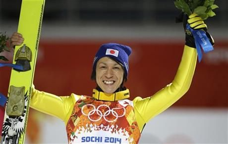 Japan's Noriaki Kasai celebrates winning the silver after the ski jumping large hill final at the 2014 Winter Olympics, Saturday, Feb. 15, 2014, in Krasnaya Polyana, Russia. (AP Photo/Gregorio Borgia) ▼15Feb AP|Kasai wins medals 20 years apart at Olympics http://wintergames.ap.org/article/kasai-wins-medals-20-years-apart-olympics #sochi2014 #NoriakiKasai #skijumping #largehill