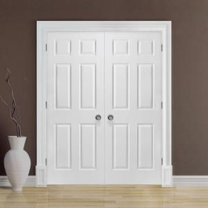 Masonite, 72 in. x 80 in. Textured 6-Panel Hollow Core Primed Composite Double Prehung Interior Door, 19092 at The Home Depot - Mobile