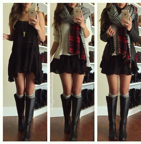 black dress, black skirt, boots, fashion, flannel, girl, grunge, hippies, hippy, hipster, jacket, outfit, outfits, plaid, preppy, pretty, scarf, sty, style, sweater, knee ​high socks