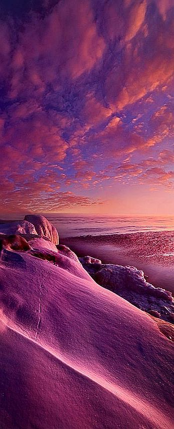 From Inside The Heart Of Each ....   From the shore of Lake Michigan. Wisconsin Horizons #by Phil Koch #sunset pink purple landscape winter snow sky