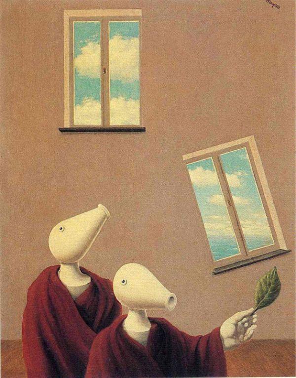 Reproduction de Magritte, Les rencontres naturelles. Tableau peint à la main dans nos ateliers. Peinture à l'huile sur toile.