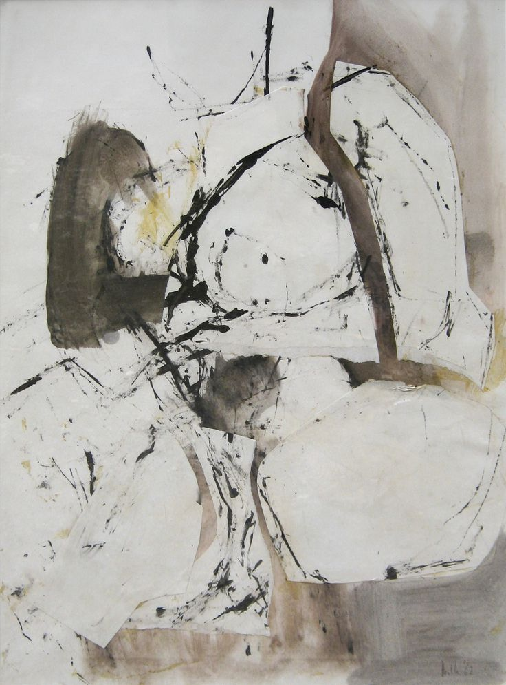 'Abstract Study' by Adrian Heath (1920 - 1992), watercolour, collage & ink: 75 x 55 cm, signed & dated 'Heath '62'