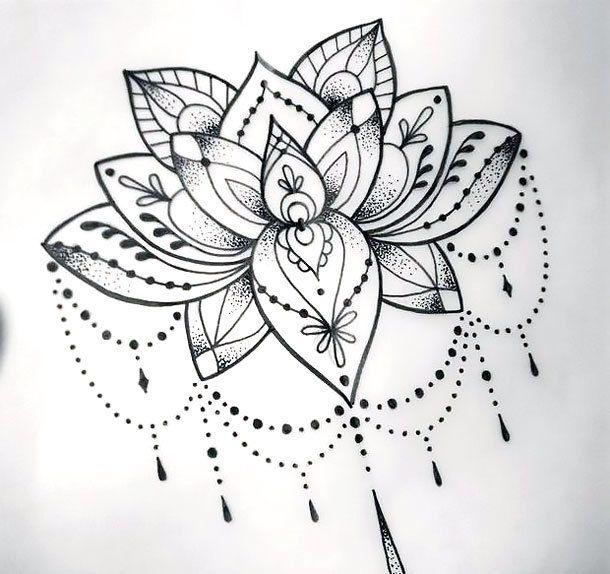 Gorgeous and elegant dotwork lotus for women. Style: Dotwork. Color: Black. Tags: Amazing, Beautiful, Elegant