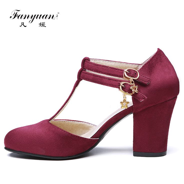 Cheap heel pads high heels, Buy Quality pumps platform directly from China heel stilettos Suppliers: Fanyuan Hot 2017 Spring Summer Women Thick Heels Pumps Faux Suede Plus Size Ladies Round Toe with Buckle Med Heels T Strap Pumps