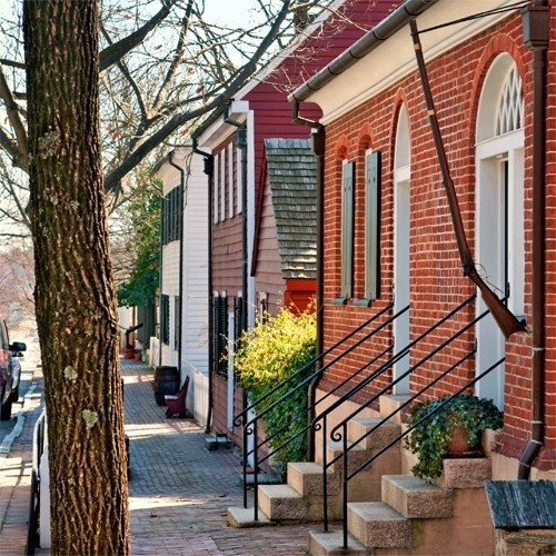 Old Salem In Winston Salem Nc View Down Main St From The Vogler House Home Pinterest