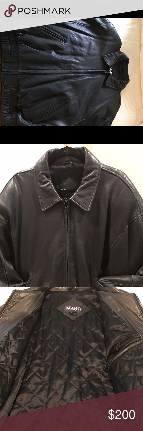 Marc New York men's leather bomber jacket Marc New York Beautiful black soft jacket size Large zipper front pockets two snaps on sleeve Marc New York Jackets & Coats Bomber & Varsity