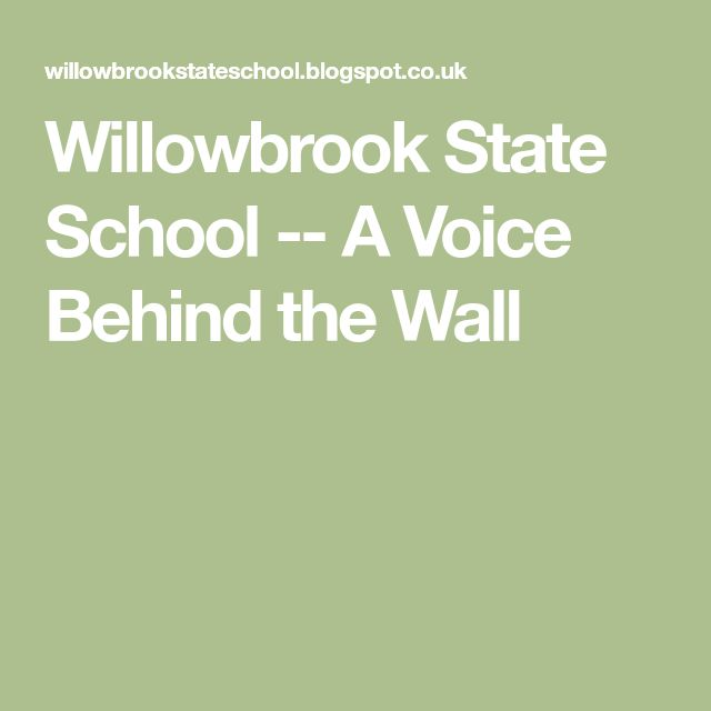 Willowbrook State School -- A Voice Behind the Wall