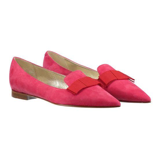 CAIMAN Lederballerinas mit Schleife ► Die spitz zulaufenden Ballerinas von CAIMAN sind aus reinem Veloursleder gefertigt. Mit kleinem Absatz, minimalistisch designter Schleife und Eigenschaften eines Loafers ein eleganter Schuh für klassische Outfits.