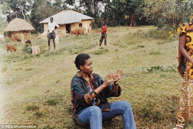 Meeting the family: Michelle Obamaon her first visit to Alego, Kenya (above) prior to mar...