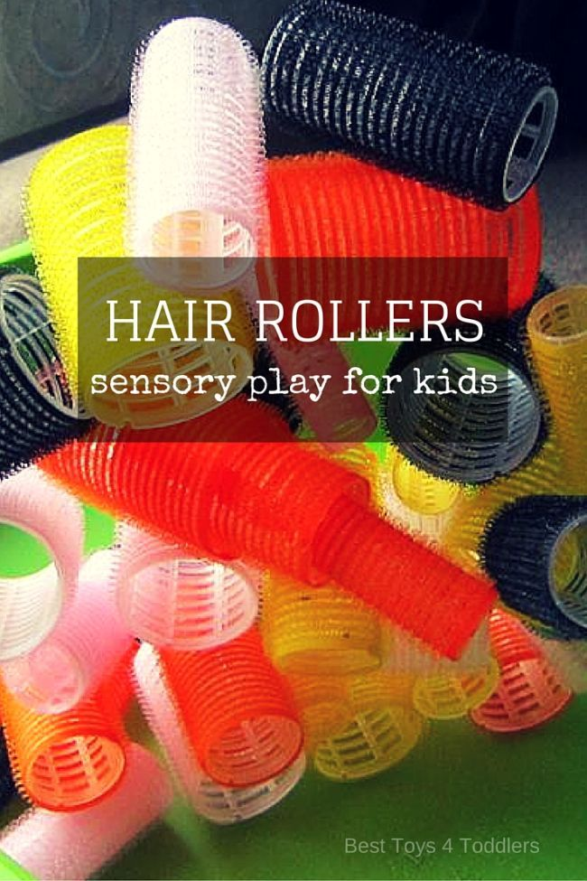 Amazing tactile experience for kids - playing with hair rollers (sensory play, fine motor skill practice and construction play)