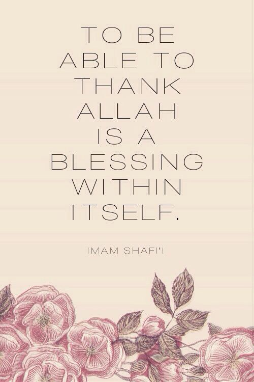 To be able to thank Allah is a blessing within itself. Imam Shafi'i Allah Azza Wa Jal has bestowed countless of blessings upon us. So to be in the position in which you are thanking Allah for His favors and protection upon you, is truly a blessing itself. Allah has blessed each of His creations in different yet favorable ways. Always give thanks. All praise is to Allah.