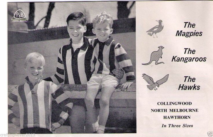 VINTAGE AFL FOOTBALL HAWKS CHILDS GUERNSEY JUMPER 60-75CM 8PLY KNITTING PATTERN