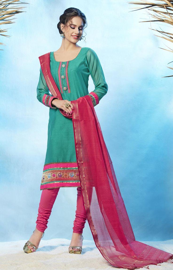 Ch,eri Silk-Cotton Kurta Set in Sea-Green , Pink - RmKV Silks
