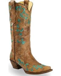 Corral Vintage Brown Scroll Overlay Cowgirl Boots - Snip Toe,