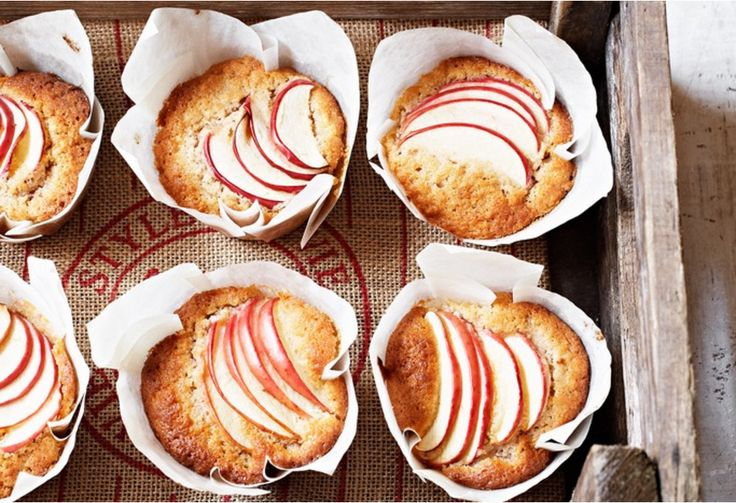 These pretty apple-petal-topped muffins are a sweet afternoon tea delight. Fluffy and fresh, these muffins are great for lunchboxes or school bake sales.