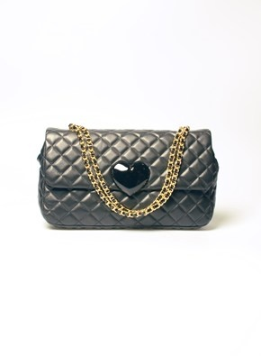 $852.82 A lovely Moschino Cheap & Chic bag, with a decorative heart and a gold-tone chain shoulder strap!! http://www.flooly.com/us/moschino-small-leather-bag/13599