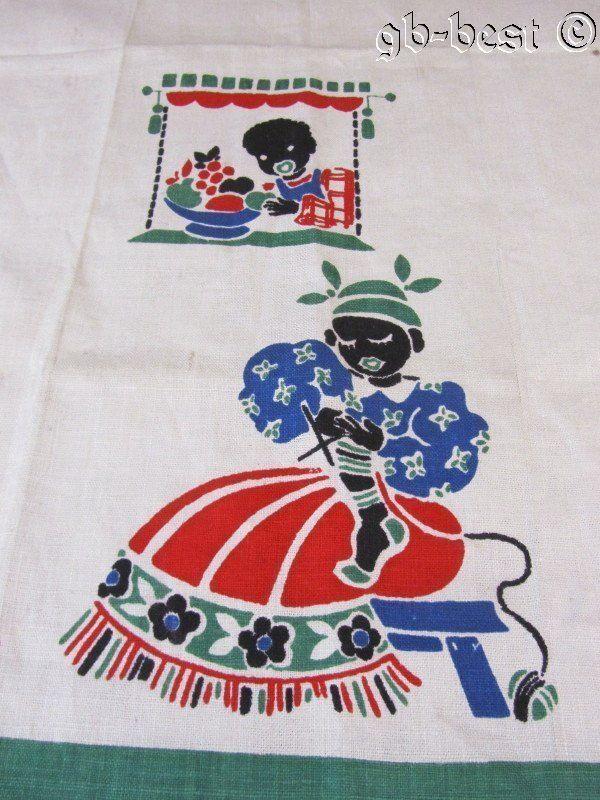 Vintage Black Americana Lady Knitting Child Fruit Linen Tea Towel Unused | eBay