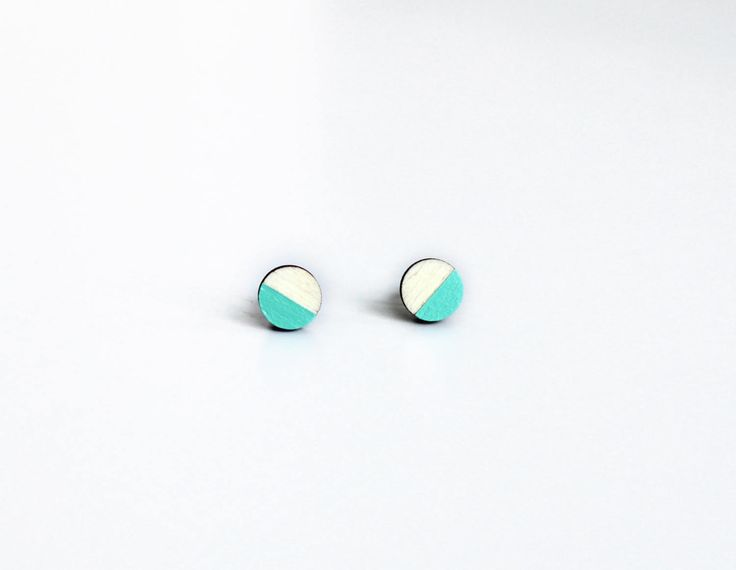cirkel oorbellen,  cadeau voor haar, cadeau, houten oorbellen, cadeau voor vriendin, hand geschilderd, simpele oorbellen, mint door JolisMots op Etsy