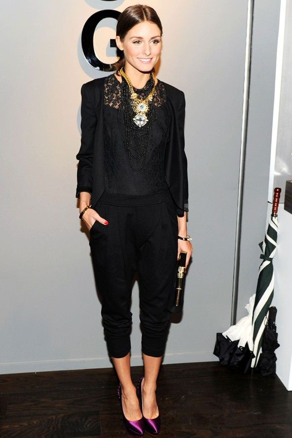 Olivia Palermo loves a simple, black outfit with a pop of color in her pumps.