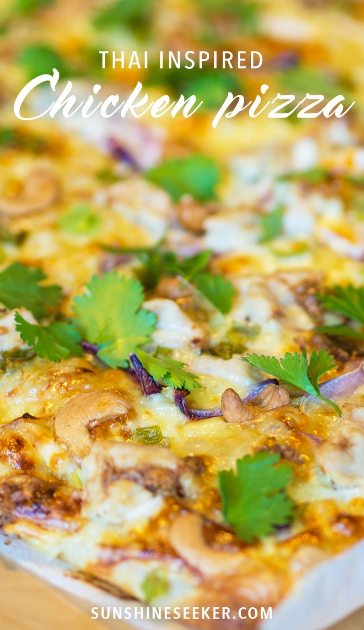 Delicious thai inspired chicken pizza recipe. With sour cream & garlic…