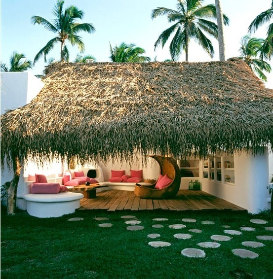 : Outdoor Rooms, Dreams Vacations, Thatched Roof, Outdoor Living Spaces, Beaches Hut, Step Stones, Veracruz Mexico, Outdoor Spaces, Design Blog