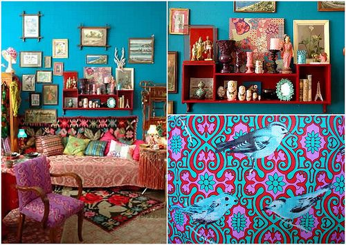 I LOVE the turquoise, red & pink pattern - I think it is wallpaper? - looking for something bold and wonderful for the inside of my cabinets