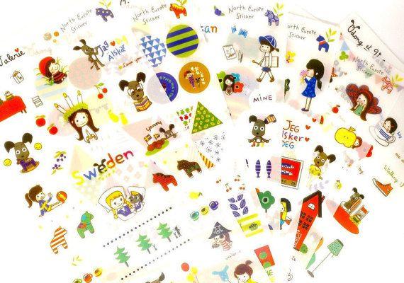 Cute Kawaii 6 pcs set KOREAN cartoon STICKERS by MyChildhoodDream