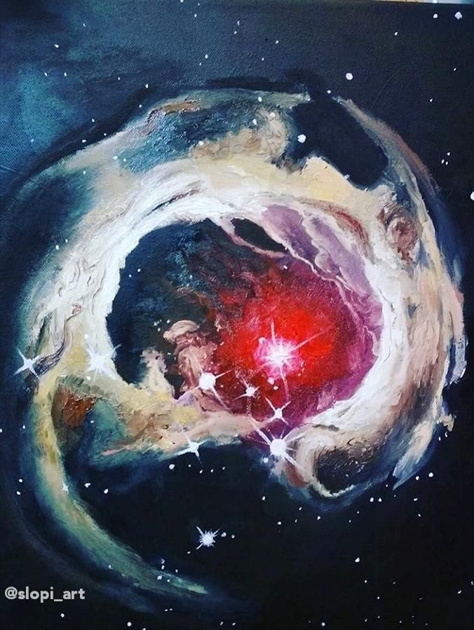 Painting I did of the V838 Monocerotis star [OC] https://ift.tt/2BF7Lpc |  Painting, Stars, Space images