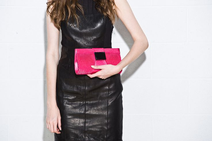 Bright pink colour pop - pink Kelly Brown Clutch and leather handbag