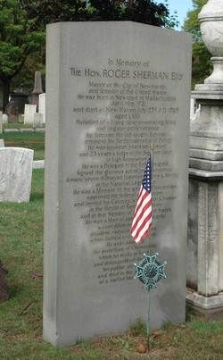 "Tombstone of famous ancestor Roger Sherman, signed of the Declaration of Independence and the Constitution and the architect of the ""Connecticut Compromise"" that proved necessary for the original 13 colonies to form a unified country"
