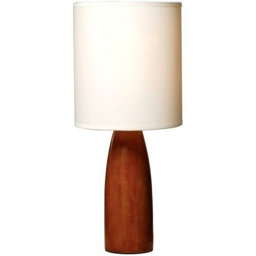 Table Lamp Polyresin Base Wood Fabric Shade Light Home Contemporary Furniture #Unbranded #Contemporary