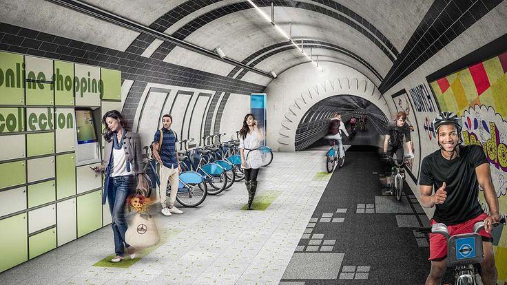 O escritório Gensler criou um projeto para aproveitar os túneis de metrô desativados de Londres. A ideia é criar um espaço de circulação de cilistas e pedestres com lojas e espaços culturais (Foto:Divulgação) glo.bo/1Kk9GeY
