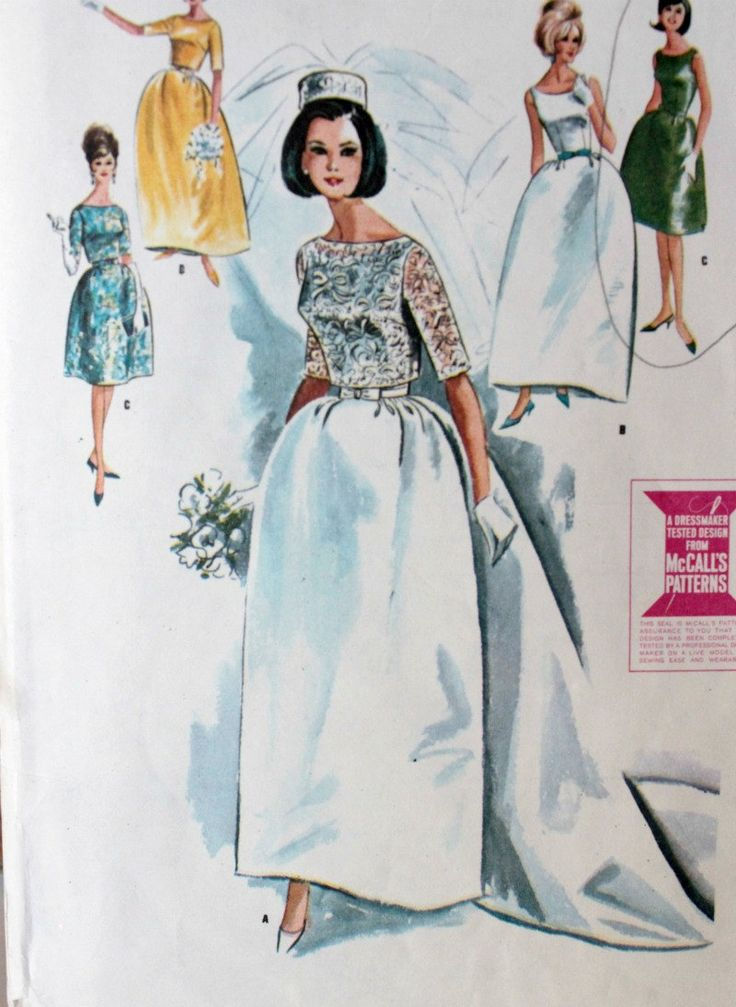 1960s wedding gowns   Vintage 1960s Wedding Dress Pattern by Digvintageshop on Etsy