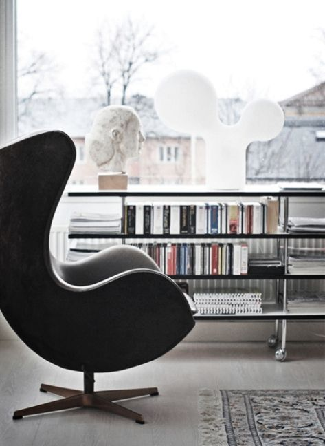 Fritz Hansen 'The Egg' chair. Designed by Arne Jacobsen for the Royal Hotel in Copenhagen, in 1958. http://www.fritzhansen.com/en/egg-easy-chair-3316