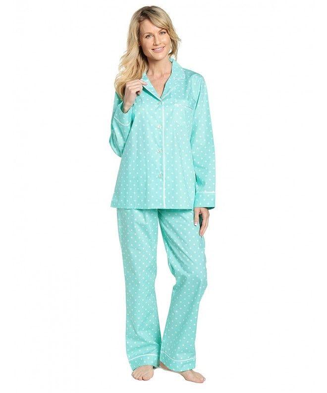 1ef7e5014c6f Womens Premium 100% Cotton Poplin Pajama Set - Dots Diva Aqua-white -  CV17AACL44Y