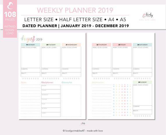 2019 Weekly Planner Printable Dated Ring Planner Inserts A5