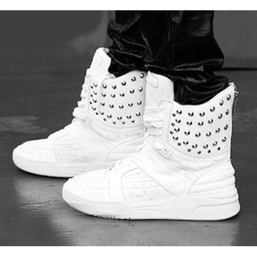 White Leather Studded Hard Punk Rock Biker Combat Boots for Men SKU-1280003