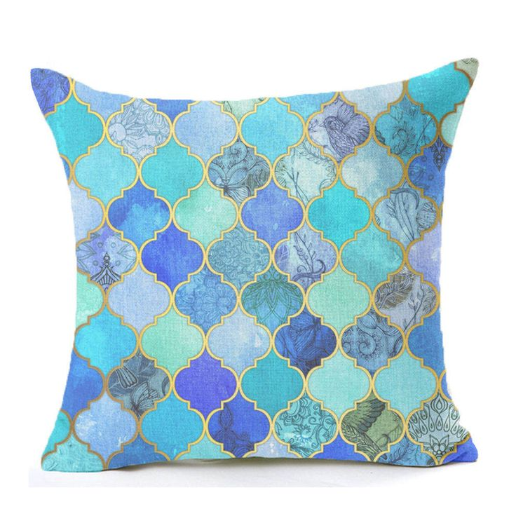 Mosaic Series Cushion Nordic Throw Pillow Moroccan Style Cushion Cotton Linen Bird Square Blue Sofa Home Decorative Pillows H039-in Cushion from Home & Garden on Aliexpress.com   Alibaba Group