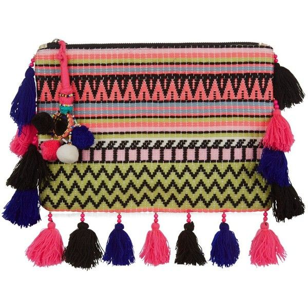 New Look Pink Aztec Knit Tassel Trim Clutch (£8) ❤ liked on Polyvore featuring bags, handbags, clutches, multicolour, colorful purses, multi color handbag, tassel purse, colorful clutches and colorful handbags