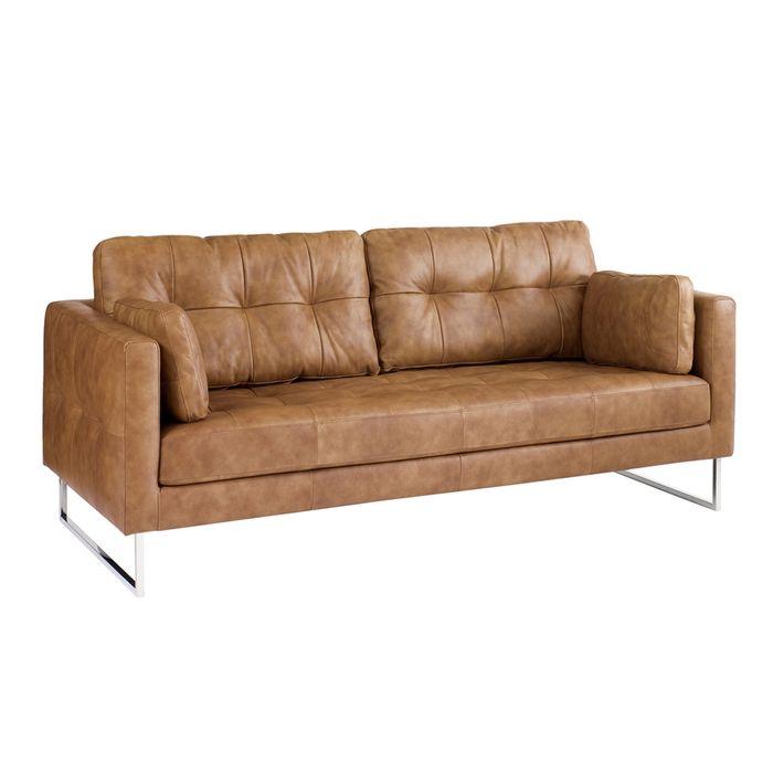 Paris leather three seater sofa tan