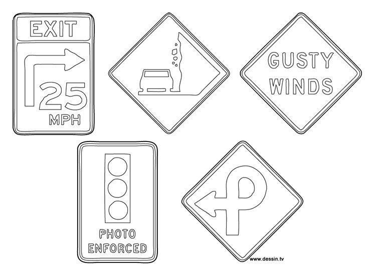 coloriage panneaux-de-la-route | Coloriage, Panneau, Colorier