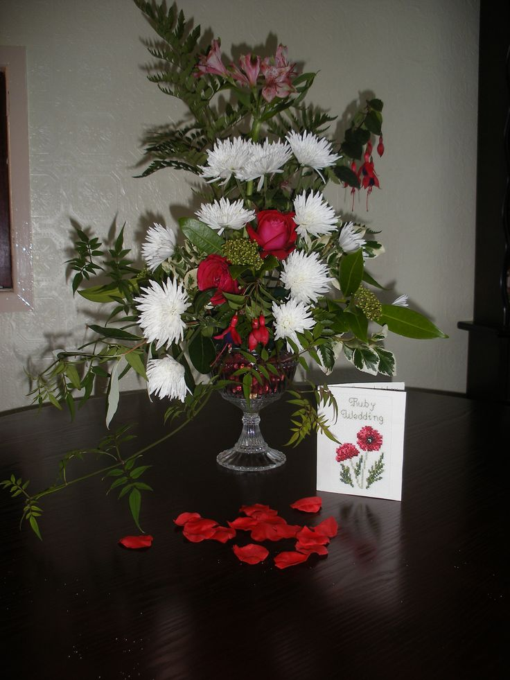 I Did This Arrangement In Class Titled Looking Forward Mine Being To Ruby Wedding AnniversaryLooking ForwardFlower