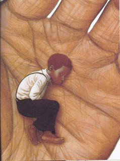 Hewitt Anderson's Great Big Life illustrated by Kadir Nelson, written by Jerdine Nolen; Notice that Nelson uses forshortening and creative perspectives in many of his illustrations